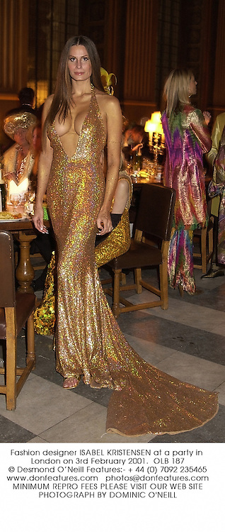 Fashion designer ISABEL KRISTENSEN at a party in London on 3rd February 2001.OLB 187