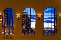 Arched windows of the newly renovated Union Station in Downtown Denver, Colorado USA.
