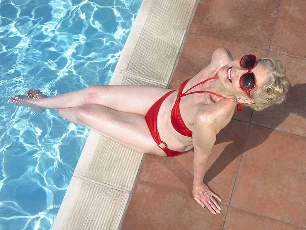 Glamorous Granny by the poolside<br /> Photography by Zac Macaulay<br /> Tel 0044 07947 884 517<br /> www.linkphotographers.com