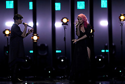 May 7, 2018 - Lisbon, Portugal - Singer Claudia Pascoal (R ) of Portugal performs during the Dress Rehearsal of the first Semi-Final of the 2018 Eurovision Song Contest, at the Altice Arena in Lisbon, Portugal on May 7, 2018. (Credit Image: © Pedro Fiuza/NurPhoto via ZUMA Press)