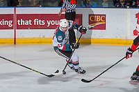 KELOWNA, CANADA - FEBRUARY 18: Rodney Southam #17 of the Kelowna Rockets skates with the puck against the Prince George Cougars on February 18, 2017 at Prospera Place in Kelowna, British Columbia, Canada.  (Photo by Marissa Baecker/Shoot the Breeze)  *** Local Caption ***