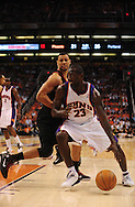 Apr 26, 2010; Phoenix, AZ, USA; Phoenix Suns guard Jason Richardson (23) handles the ball against Portland Trailblazers guard Brandon Roy (7) during the first quarter in game five in the first round of the 2010 NBA playoffs at the US Airways Arena.  Mandatory Credit: Jennifer Stewart-US PRESSWIRE