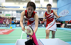 Mizuki Fuji of Bristol Jets and Emily Westwood of Bristol Jets prepare for their women's doubles match against The Surrey Smashers - Photo mandatory by-line: Robbie Stephenson/JMP - 06/02/2017 - BADMINTON - SGS Wise Arena - Bristol, England - Bristol Jets v Surrey Smashers - AJ Bell National Badminton League