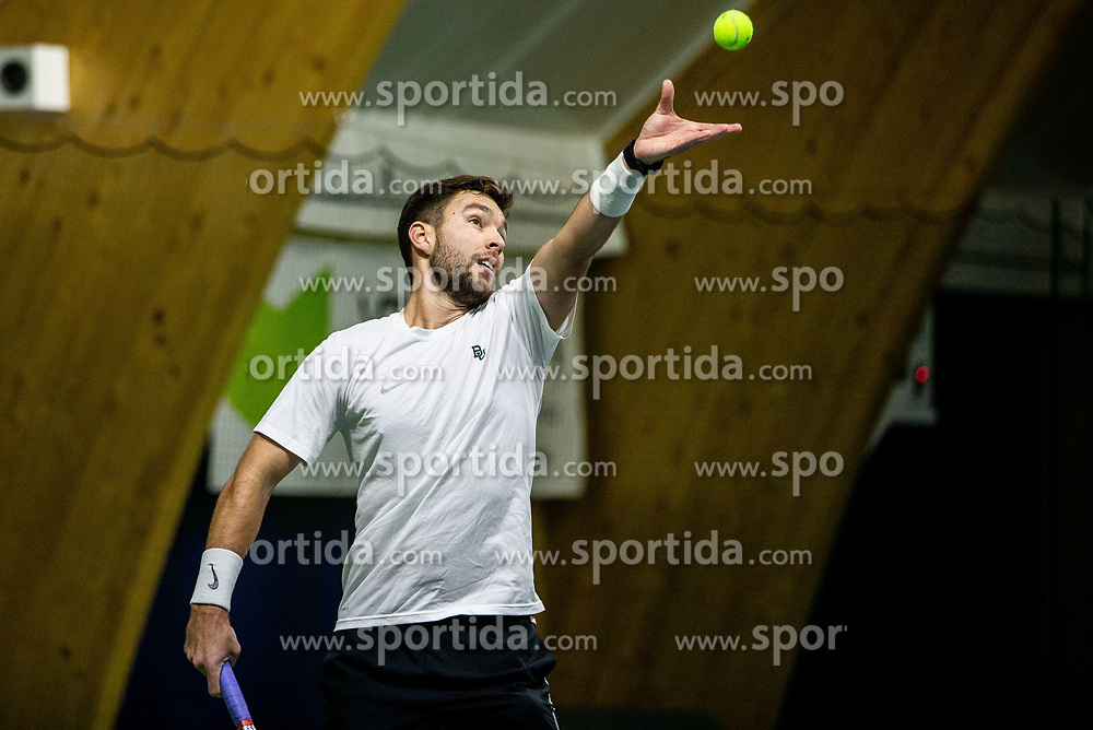 Sven Lah playing final match during Slovenian men's doubles tennis Championship 2019, on December 29, 2019 in Medvode, Slovenia. Photo by Vid Ponikvar/ Sportida