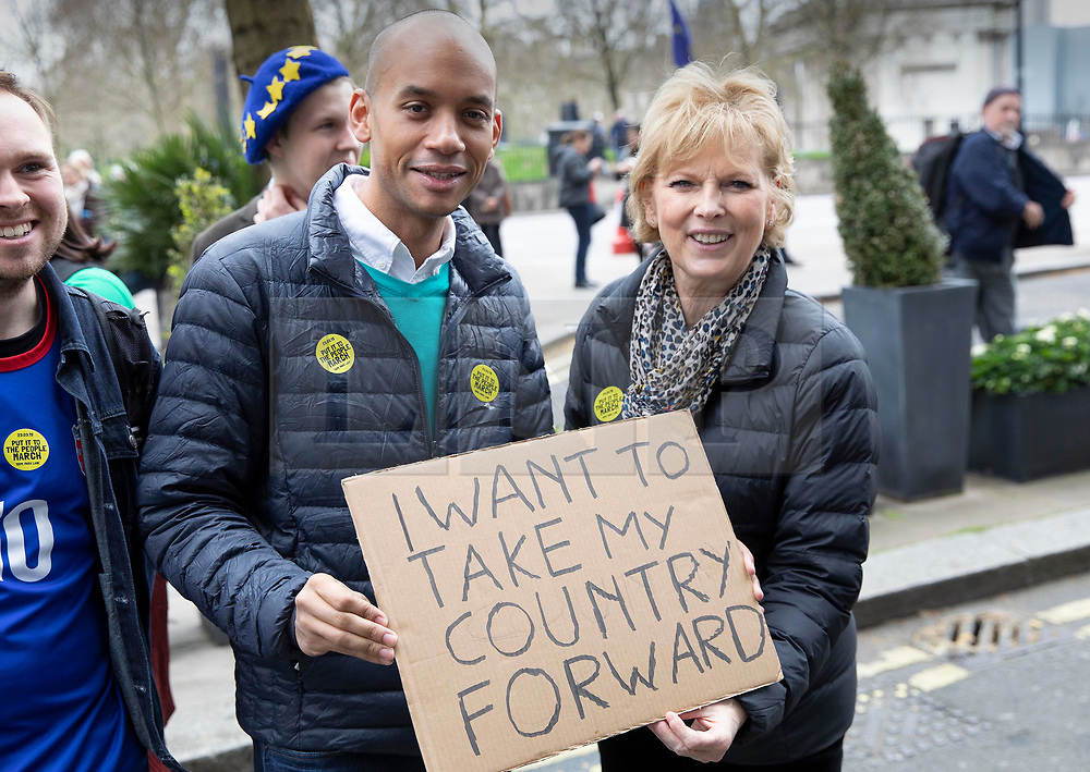 © Licensed to London News Pictures. 23/03/2019. London, UK. Independent Group MPs Chuka Umunna and Anna Soubry join the march as thousands of demonstrators take part in the 'Put It To The People march' through central London. The People's Vote Campaign are calling for a second referendum on the United Kingdom's membership of the European Union. Photo credit: Peter Macdiarmid/LNP