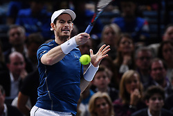 Andy Murray plays John Isner of the United States during the Mens Singles Final on day seven of the BNP Paribas Masters at Palais Omnisports de Bercy on November 6, 2016 in Paris, France. Murray has celebrated his impending rise to the world No 1 ranking with a 6-3 6-7(4) 6-4 victory to claim his maiden Paris Masters title and his eighth tournament win of the season. Photo by Laurent Zabulon/ABACAPRESS.COM