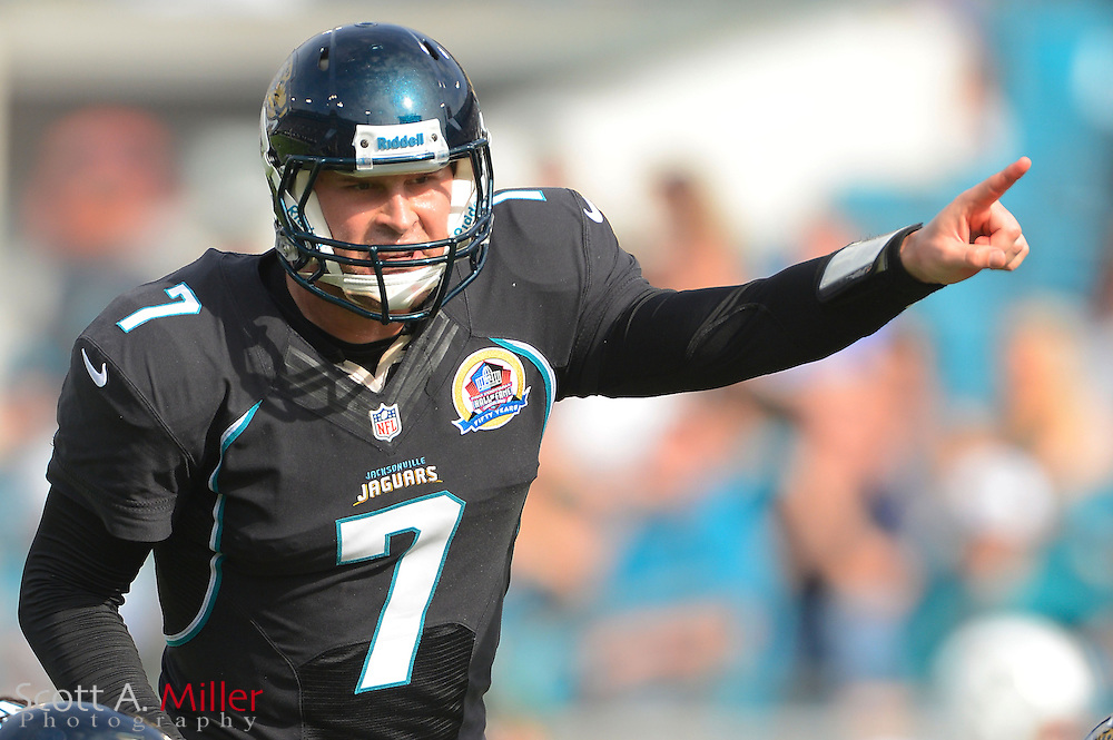 Jacksonville Jaguars quarterback Chad Henne (7) during an NFL game against the New York Jets at EverBank Field on Dec 9, 2012 in Jacksonville, Florida. The Jets won 17-10...©2012 Scott A. Miller..