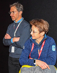 05.02.2019, Aare, SWE, FIS Weltmeisterschaften Ski Alpin, TirolBerg, Roundtablegespraech zum Thema the Comeback of the major sport events in europe, im Bild Valerio Giacobbi (CEO Fondazione Cortina 2021), Sarah Lewis (Secretary General FIS) // during a round table talk about the comeback of the major sports events in europe at TirolBerg for the FIS Ski Alpine World Championships 2019 in Aare, Sweden on 2019/02/05. EXPA Pictures © 2019, PhotoCredit: EXPA/ Erich Spiess