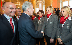 29.01.2014, Hofburg, Wien, AUT, Sochi 2014, Vereidigung OeOC, im Bild Bundespräsident Heinz Fischer, Nicole Hosp, Michaela Kirchgasser // Austrians President Heinz Fischer, Nicole Hosp, Michaela Kirchgasser during the swearing-in of the Austrian National Olympic Committee for Sochi 2014 at the  Hofburg in Vienna, Austria on 2014/01/29. EXPA Pictures © 2014, PhotoCredit: EXPA/ JFK