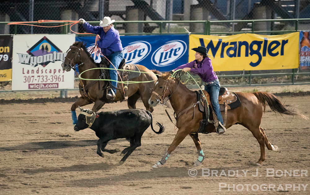 Cole and Jessica Elquist compete in team roping last year at the Jackson Hole Rodeo.