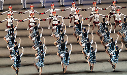 Edinburgh, Scotland, UK. 5 August, 2019.  The Royal Edinburgh Military Tattoo forms part of the Edinburgh International festival. Pictured; Dancers on esplanade at Finale of the Tattoo