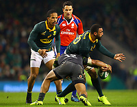 Rugby Union - 2017 Guinness Series (Autumn Internationals) - Ireland vs. South Africa<br /> <br /> South Africa's Uzair Cassiem is tackled by Ireland's Bundee Aki, at the Aviva Stadium.<br /> <br /> COLORSPORT/KEN SUTTON