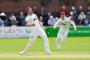 Wicket - Craig Overton of Somerset celebrates taking the wicket of Josh Tongue of Worcestershire during the Specsavers County Champ Div 1 match between Somerset County Cricket Club and Worcestershire County Cricket Club at the Cooper Associates County Ground, Taunton, United Kingdom on 22 April 2018. Picture by Graham Hunt.