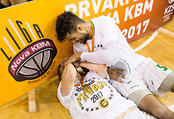 Gregor Hrovat #15 of KK Union Olimpija and Devin Oliver #5 of KK Union Olimpija celebrate after wining during basketball match between KK Union Olimpija and KK Rogaska in 4th Final game of Liga Nova KBM za prvaka 2016/17, on May 24, 2017 in Hala Tivoli, Ljubljana, Slovenia. Photo by Vid Ponikvar / Sportida