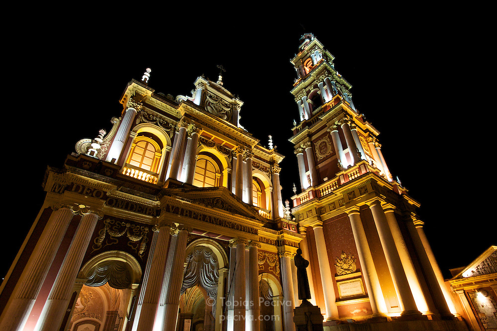 Nighttime view of Iglesia San Francisco in central Salta, northern Argentina.