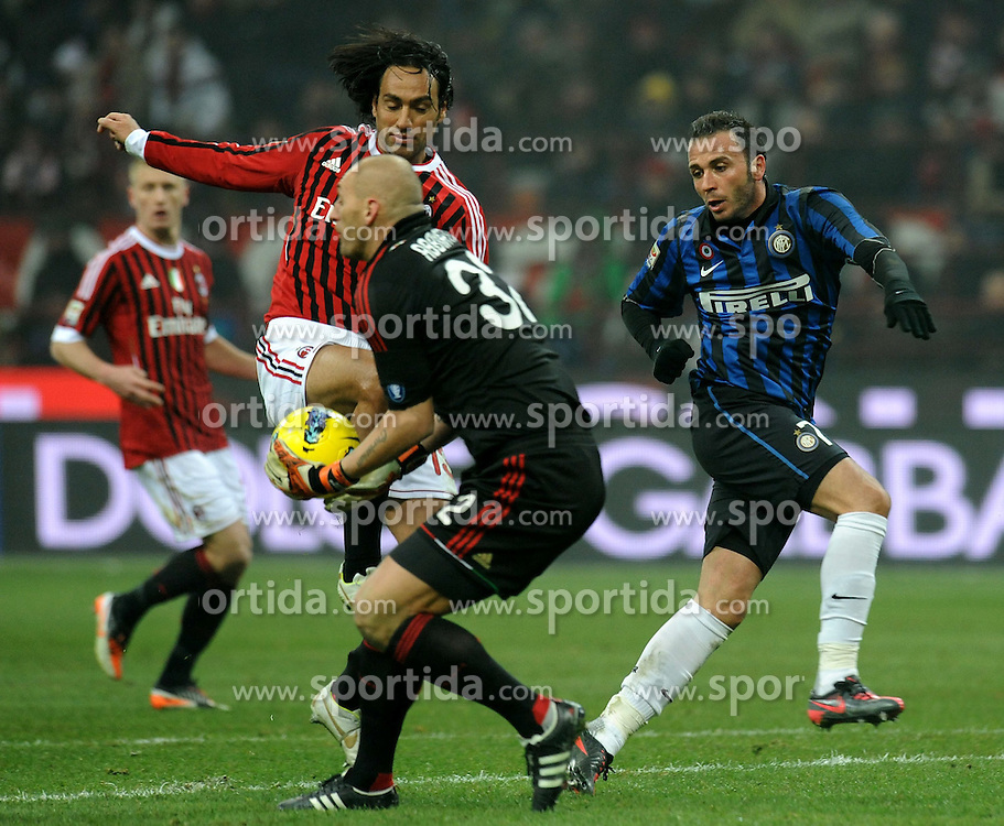 15.01.2012, Stadion Giuseppe Meazza, Mailand, ITA, Serie A, AC Mailand vs Inter Mailand, 18. Spieltag, im Bild Uscita di Christian Abbiati Milan, Alessandro Nesta Milan, Giampaolo Pazzini Inter // the football match of Italian 'Serie A' league, 18th round, between AC Mailand and Inter Mailand at Stadium Giuseppe Meazza, Milan, Italy on 2012/01/15. EXPA Pictures © 2012, PhotoCredit: EXPA/ Insidefoto/ Alessandro Sabattini..***** ATTENTION - for AUT, SLO, CRO, SRB, SUI and SWE only *****