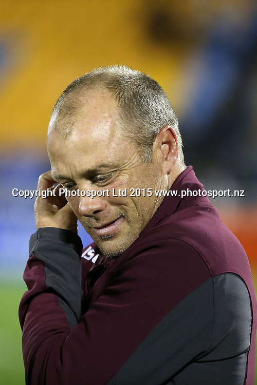 Manly coach Geoff Toovey waits for the players in the NRL Rugby League, Warriors v Sea Eagles at Mt Smart Stadium, Auckland, New Zealand. 25 July 2015. Copyright Photo: Fiona Goodall / www.photosport.nz
