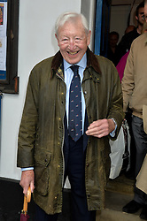 Journalist and television presenter Alan Whicker's memorial service at Grosvenor Chapel, Mayfair, London, UK.<br /> <br /> Pictured is Sandy Gall attending the service.<br /> <br /> Wednesday, 28th May 2014. Picture by Ben Stevens / i-Images