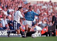 Luke Young (Tottenham Hotspur) Jeff Whitley (Manchester City) Tottenham Hotspur v Manchester City, FA Premiership, 23/09/2000. Credit: Colorsport / Nick Kidd