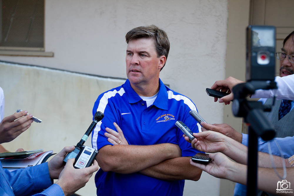 San Jose State Spartans' Head Coach Mike MacIntyre addresses the press after their 57-3 loss to Stanford University (7) in Palo Alto, Calif., Sept. 3, 2011.  (Spartan Daily/Stan Olszewski)