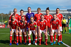 YSTRAD MYNACH, WALES - Wednesday, April 5, 2017: Wales players line-up for a team group photograph before the International Friendly match against Northern Ireland at Ystrad Mynach. Back row left to right: Sophie Ingle, Hayley Ladd, Laura O'Sullivan, Gemma Evans, Angharad James and Kayleigh Green. Front row left to right: Natasha Harding, Georgia Evans, Jessica Fishlock, Rachel Rowe and Hannah Miles. (Pic by Laura Malkin/Propaganda)