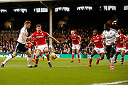 Fulham defender Tomas Kalas (26) has a shot on goal during the EFL Sky Bet Championship match between Fulham and Barnsley at Craven Cottage, London, England on 23 December 2017. Photo by Andy Walter.