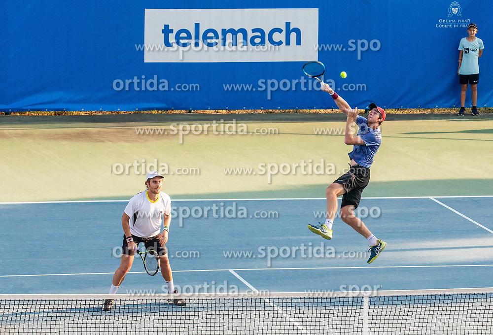 Dane Propoggia (AUS) and Scott Puodziunas (AUS) playing doubles during Day 4 of ATP Challenger Zavarovalnica Sava Slovenia Open 2018, on August 6, 2018 in Sports centre, Portoroz/Portorose, Slovenia. Photo by Vid Ponikvar / Sportida