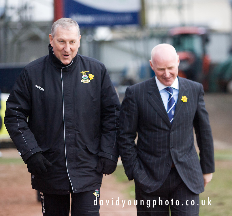 Inverness boss Terry Butcher and interim Dundee manager John Brown share a laugh pre-match - Dundee v Inverness Caledonian Thistle - Clydesdale Bank Scottish Premier League at Dens Park .. - © David Young - www.davidyoungphoto.co.uk - email: davidyoungphoto@gmail.com