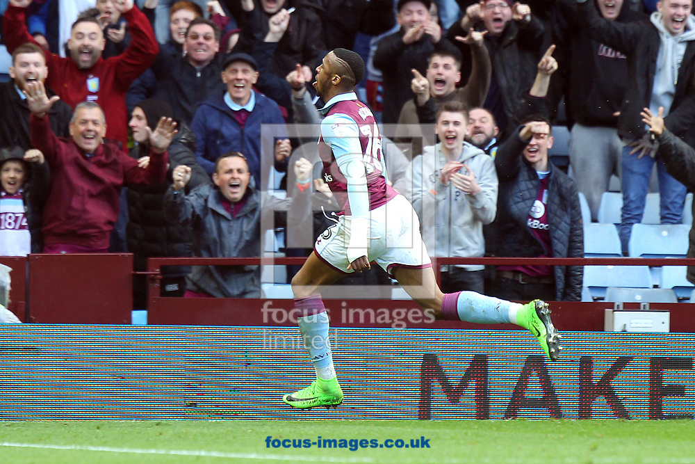 during the Sky Bet Championship match at Villa Park, Birmingham<br /> Picture by Paul Chesterton/Focus Images Ltd +44 7904 640267<br /> 01/04/2017Jonathan Kodjia of Aston Villa celebrates scoring his sides 2nd goal during the Sky Bet Championship match at Villa Park, Birmingham<br /> Picture by Paul Chesterton/Focus Images Ltd +44 7904 640267<br /> 01/04/2017