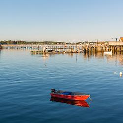 A skiff in Jonesport harbor in Jonesport, Maine.