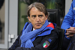 November 17, 2018 - Milan, Lombardia, Italy - Roberto Mancini, head coach of Italian National team, before the Nations League football match between Italy and Portugal at Stadio Giuseppe Meazza on November 17, 2018 in Milan Italy..Final results: 0-0. (Credit Image: © Massimiliano Ferraro/NurPhoto via ZUMA Press)