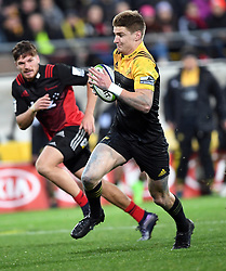 Hurricanes Jordie Barrett heads for the tryline against the Crusaders in Super Rugby match at Westpac Stadium, Wellington, New Zealand, Saturday, July 15, 2017. Credit:SNPA / Ross Setford  **NO ARCHIVING""
