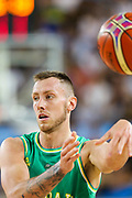 Mitch Creek #24 of Australia passes the ball during the Australia v Philippines, 1st Round, Group B, Asian Qualifier at the Margaret Court Arena, Melbourne, Australia on 22 February 2018. Picture by Martin Keep.