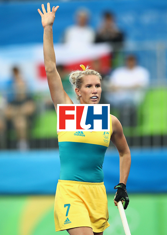 RIO DE JANEIRO, BRAZIL - AUGUST 10:  Jodie Kenny of Australia signals during the Women's Pool B Match between India and Australia on Day 5 of the Rio 2016 Olympic Games at the Olympic Hockey Centre on August 10, 2016 in Rio de Janeiro, Brazil.  (Photo by Mark Kolbe/Getty Images)