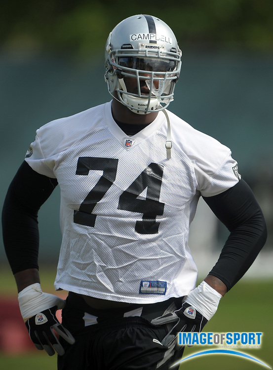 May 26, 2010; Alameda, CA, USA; Oakland Raiders rookie tackle Bruce Campbell (74) at organized team activities at the Oakland Raiders practice facility.