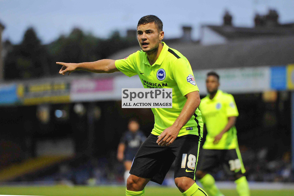 Brightons Jake Forster-Caskey in action during the Southend v Brighton match in the first round of the Capital One Cup