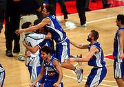 EUROPEI STOCCOLMA 2003<br /> FINALE 3 - 4 POSTO <br /> ITALIA - FRANCIA<br /> NELLA FOTO: ESULTANZA LAMMA MIAN<br /> FOTO CIAMILLO