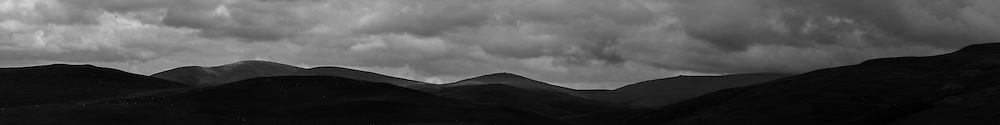 Windy Law, Hownam, Scottish Borders, UK. 4th August 2015. Looking north east towards the Bowmont Valley.