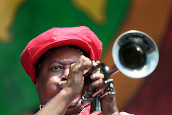 02 May 2015. New Orleans, Louisiana.<br /> The New Orleans Jazz and Heritage Festival. <br /> Kermit Ruffins plays the Congo Square stage.<br /> Photo; Charlie Varley/varleypix.com