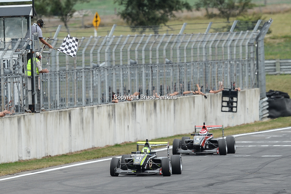 Lando Norris takes the chequered flag in Race 1, Round 4 of the Toyota Racing Series at Bruce Mclaren Motorsport Park, Taupo, New Zealand on Saturday Feb 6 2016