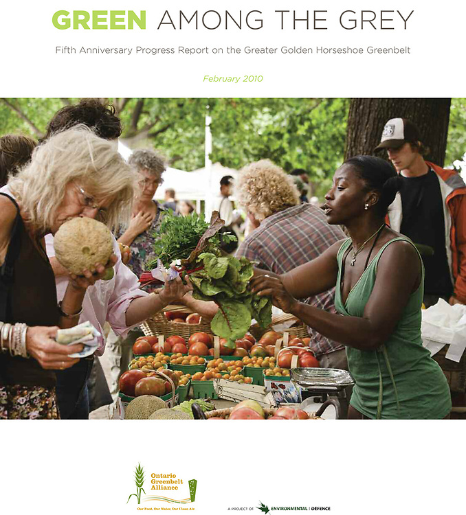 Cover for Green Among The Grey, Fifth Anniversary Progress Report on the Greater Golden Horseshoe Greenbelt.