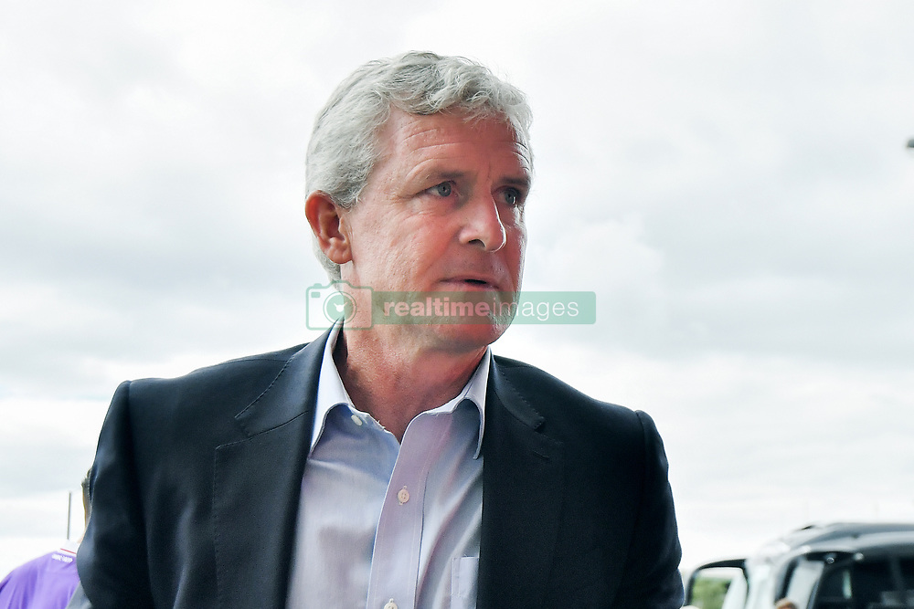 Stoke City manager Mark Hughes arrives for the pre-season match at the Macron Stadium, Bolton.