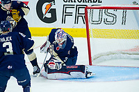 REGINA, SK - MAY 18: Max Paddock #33 of Regina Pats makes a second period save against the Hamilton Bulldogs at the Brandt Centre on May 18, 2018 in Regina, Canada. (Photo by Marissa Baecker/Shoot the Breeze)