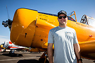 RENO, NV - SEPTEMBER 13: Mike Scott stands next to his T-6G airplane before todays heats at the Reno Championship Air Races on September 13, 2017 in Reno, Nevada. (Photo by Jonathan Devich/Getty Images) *** Local Caption *** Mike Scott