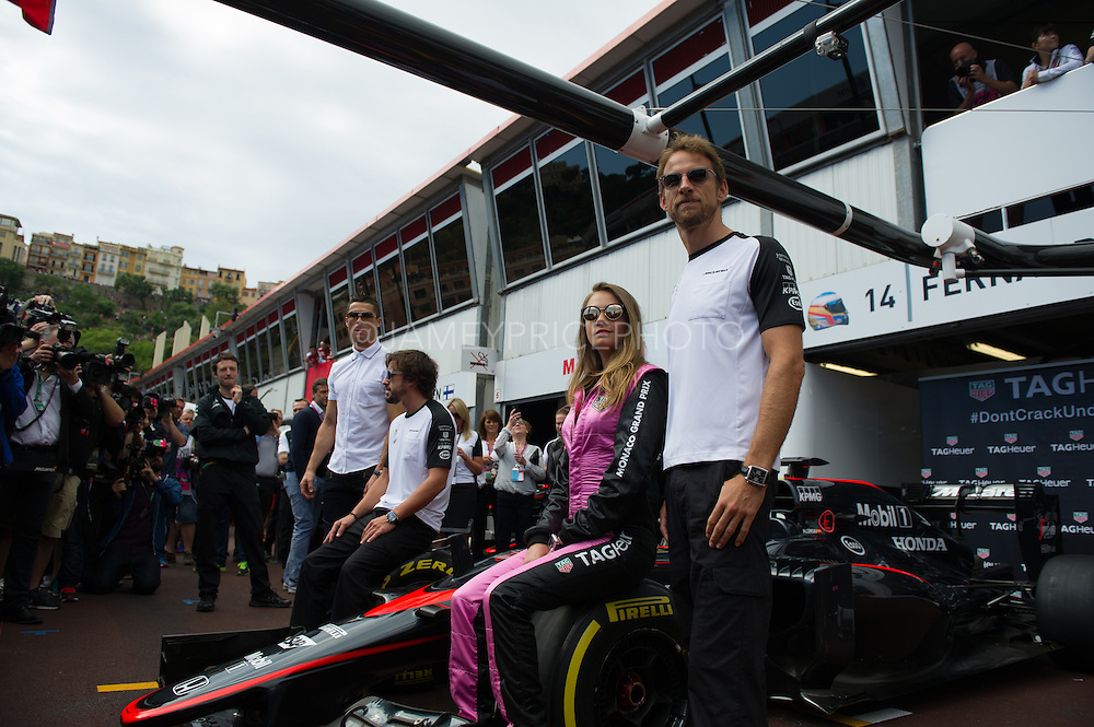 May 20-24, 2015: Monaco Grand Prix: Fernando Alonso (SPA), McLaren Honda, Jenson Button (GBR), McLaren Honda pose with Cara Delevingne and Cristiano Ronaldo