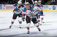 KELOWNA, CANADA - JANUARY 2:  Ryan Olsen #27, Myles Bell #29, Cody Fowlie #18, Zach Franko #9 and Damon Severson #7 celebrate a goal against the Victoria Royals at the Kelowna Rockets on January 2, 2013 at Prospera Place in Kelowna, British Columbia, Canada (Photo by Marissa Baecker/Shoot the Breeze) *** Local Caption ***