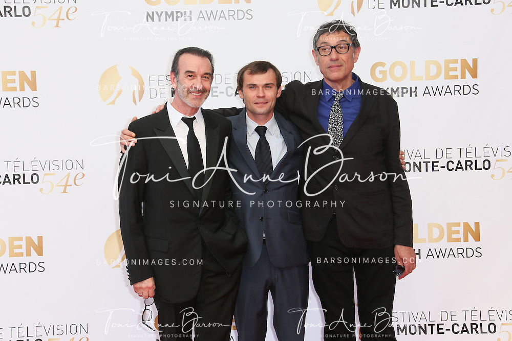 MONTE-CARLO, MONACO - JUNE 11: (L to R) Robin Renucci, Robinson Stevenin and Edwin Baily attends the Closing Ceremony and Golden Nymph Awards of the 54th Monte Carlo TV Festival on June 11, 2014 in Monte-Carlo, Monaco.  (Photo by Tony Barson/FilmMagic)