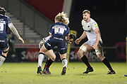 Sale Shark's Ross Harrison during the Aviva Premiership match between Sale Sharks and Saracens at the AJ Bell Stadium, Eccles, United Kingdom on 16 February 2018. Picture by George Franks.