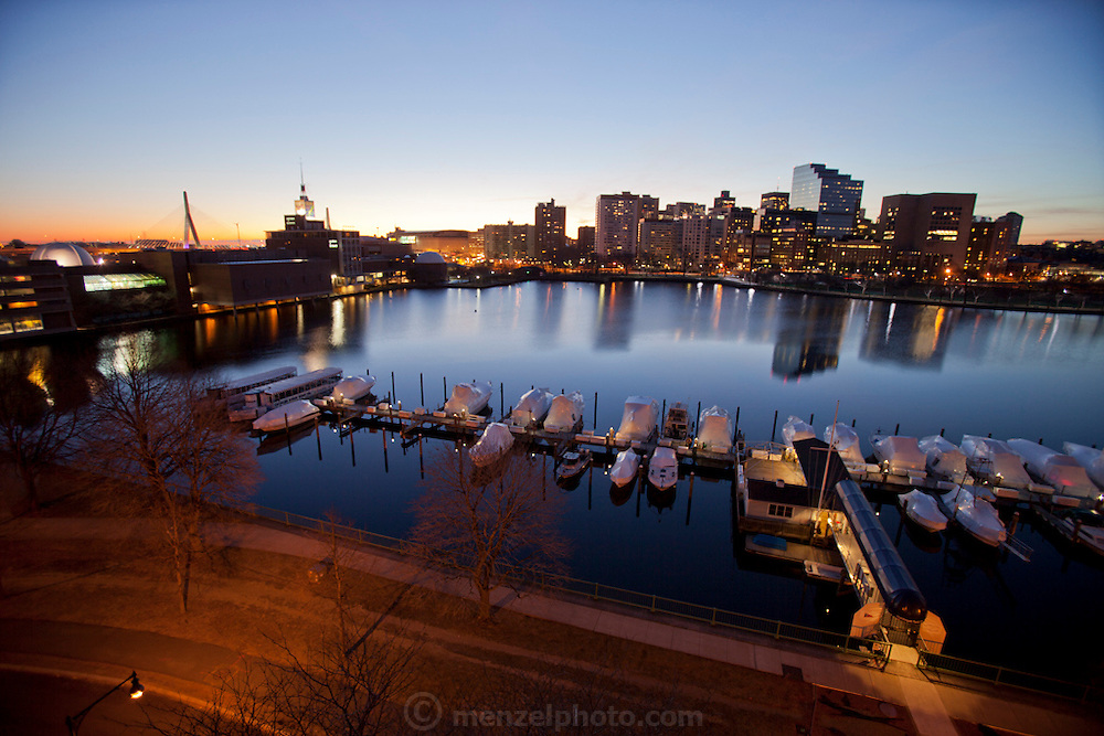 Boston, MA at dawn. From Cambridge, with Boston Museum of Science to left.