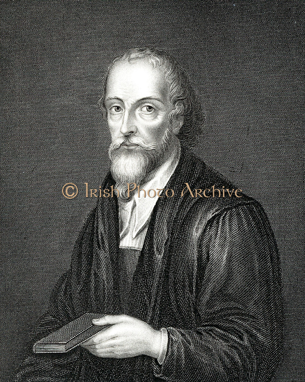 Nicholas Ridley (c1500-1555) English Protestant martyr. burned for heresy with Latimer at Oxford.  Engraving.